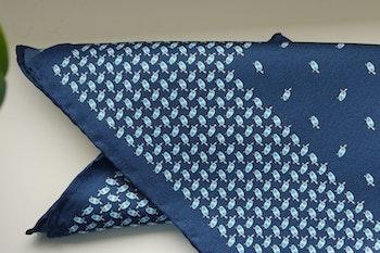 Turtle Silk Pocket Square - Navy Blue/Light Blue/White