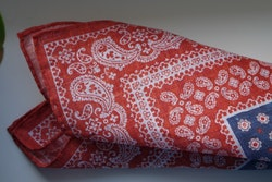 Floral Oriental Linen Pocket Square - Navy Blue/Red/White