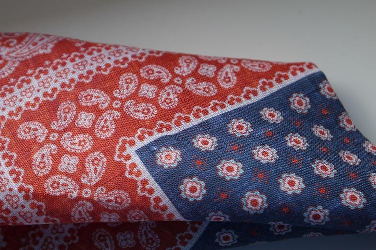 Floral Oriental Linen Pocket Square - Navy Blue/Red/White