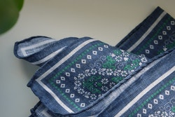 Floral Oriental Linen Pocket Square - Navy Blue/Green/White