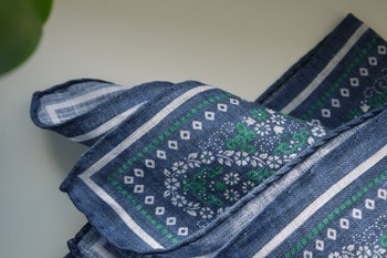 Floral Oriental Linen Pocket Square - Navy Blue/Green/White