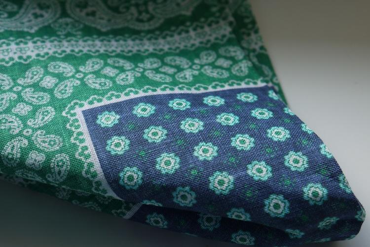 Floral Oriental Linen Pocket Square - Green/Navy Blue/White