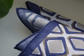 Square Linen Pocket Square - Navy Blue/Brown/White
