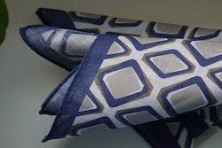Square Linen Pocket Square - Navy Blue/Brown/White