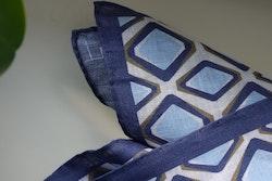 Square Linen Pocket Square - Navy Blue/Light Blue/White