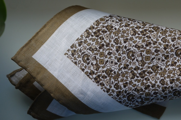 Floral Linen Pocket Square - Beige/White