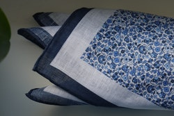 Floral Linen Pocket Square - Navy Blue/White
