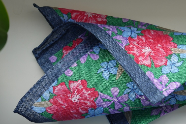Large Floral Linen Pocket Square - Green/Blue/Pink