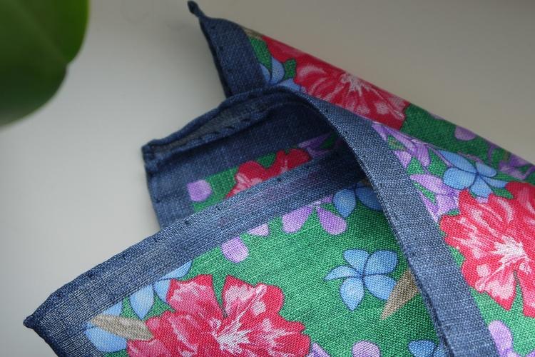 Large Floral Linen Pocket Square - Green/Blue/Pink