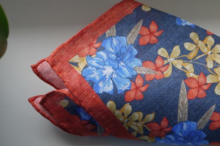 Large Floral Linen Pocket Square - Navy Blue/Orange/Light Blue