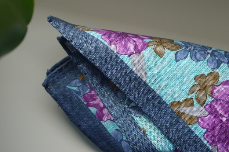 Large Floral Linen Pocket Square - Turquoise/Navy Blue/Purple