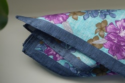 Large Floral Linen Pocket Square - Turquoise/Navy Blue/Purple