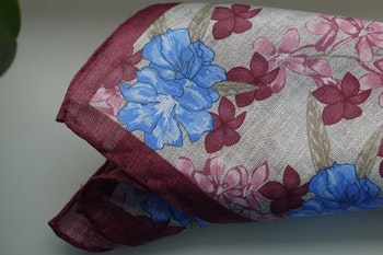 Large Floral Linen Pocket Square - Beige/Burgundy/Light Blue