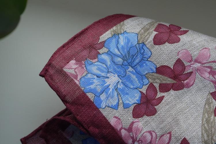 Large Floral Linen Pocket Square - Beige/Burgundy/Light Blue