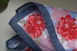 Large Floral Linen Pocket Square - Pink/Navy Blue/Apricot