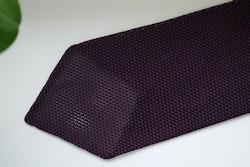 Solid Silk Grenadine Fina Tie - Untipped - Lilac/Navy Blue