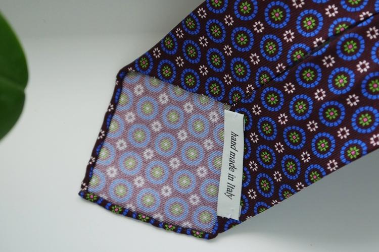 Floral Printed Silk Tie - Untipped - Burgundy/Navy Blue/Green