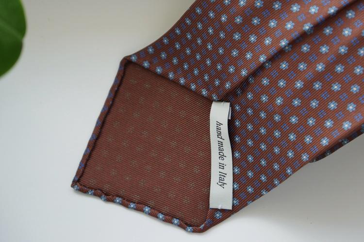 Floral Printed Silk Tie - Untipped - Rust Orange/Light Blue