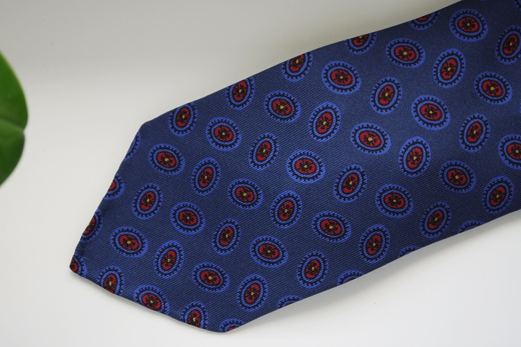 Diamond Printed Silk Tie - Untipped - Navy Blue/Burgundy