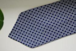 Circle Printed Silk Tie - Untipped -  Navy Blue/White