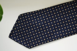 Floral Printed Silk Tie - Untipped -  Navy Blue/Beige
