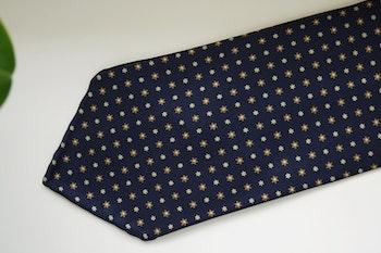 Floral Printed Silk Tie - Untipped -  Navy Blue/Beige
