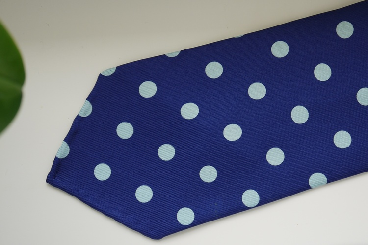 Polka Dot Printed Silk Tie - Untipped -  Mid Navy Blue/Light Blue
