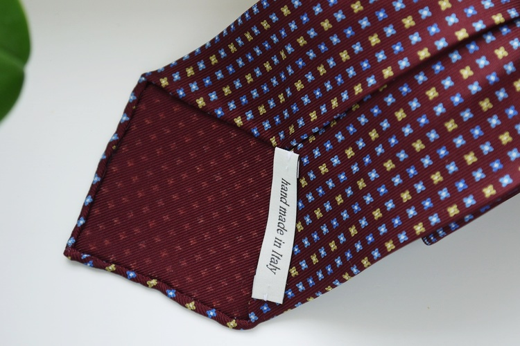 Floral Printed Silk Tie - Untipped - Burgundy/Light Blue/Yellow