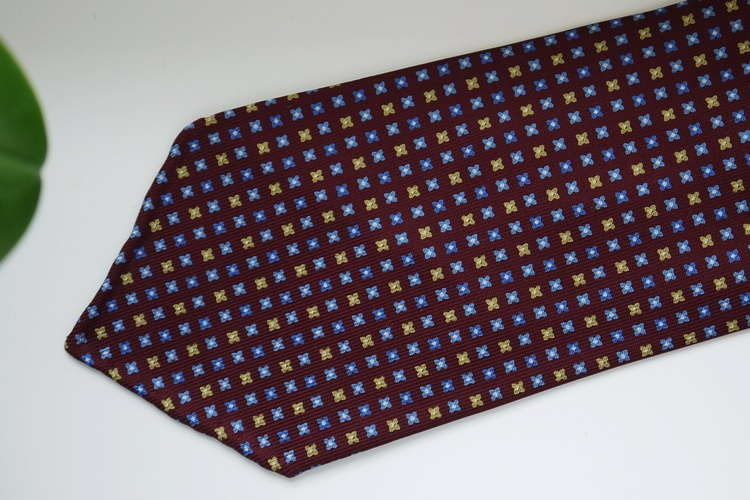 Floral Printed Silk Tie - Untipped - Burgundy/Light Blue/Yellow