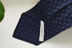 Micro Printed Silk Tie - Untipped - Navy Blue/Light Blue/Brown
