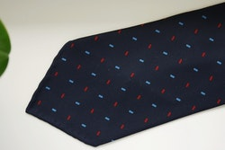 Micro Printed Silk Tie - Untipped - Navy Blue/Light Blue/Red