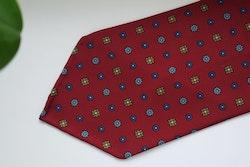 Floral Printed Silk Tie - Untipped -  Burgundy/Navy Blue/Beige