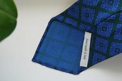 Medallion Ancient Madder Silk Tie - Untipped - Green/Light Blue