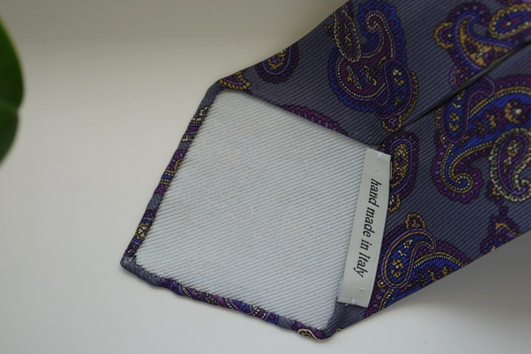 Paisley Printed Silk Tie - Untipped - Grey/Purple/Navy Blue