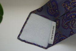 Paisley Printed Silk Tie - Untipped - Grey/Purple/Navy Blue