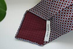 Micro Printed Silk Tie - Untipped - Burgundy/Beige/Navy Blue
