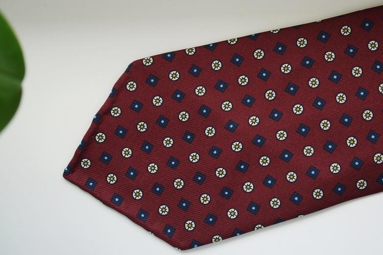 Floral Printed Silk Tie - Untipped - Burgundy/Navy Blue/Yellow