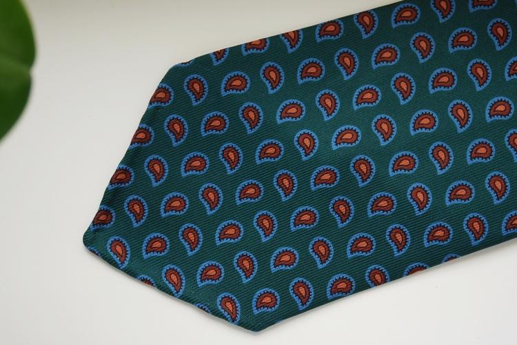 Paisley Ancient Madder Silk Tie - Untipped - Dark Green/Brown/Light Blue