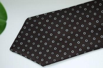 Floral Printed Silk Tie - Untipped - Brown/White