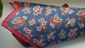 Paisley Linen Pocket Square - Navy Blue/Red/Light Blue