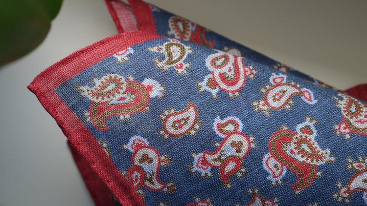 Paisley Linen Pocket Square - Navy Blue/Red/Light Blue