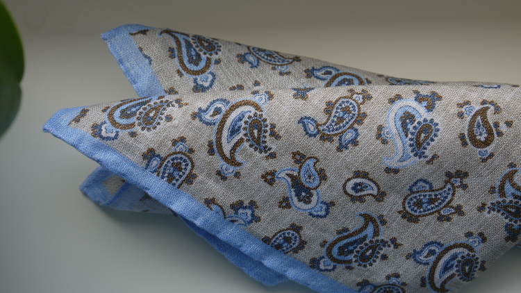 Paisley Linen Pocket Square - Beige/Light Blue/Brown