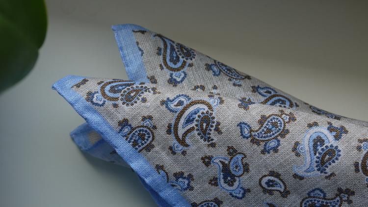 Paisley Linen Pocket Square - Beige/Light Blue/Brown