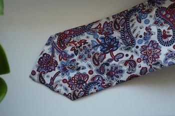 Paisley Printed Silk Tie - White/Burgundy/Light Blue