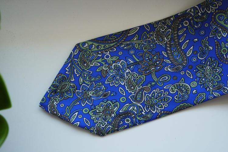 Paisley Printed Silk Tie - Mid Blue/Green