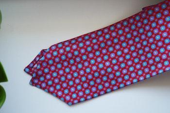 Floral Printed Silk Tie - Red/Light Blue