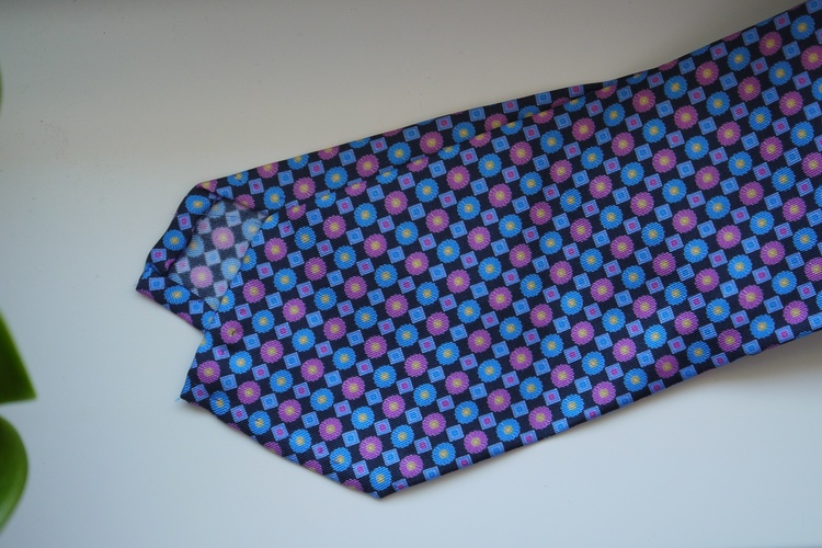 Floral Printed Silk Tie - Navy Blue/Light Blue/Pink