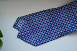 Floral Printed Silk Tie - Navy Blue/Light Blue/Pink