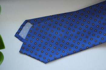 Floral Printed Cotton Silk Tie - Mid Blue/Beige