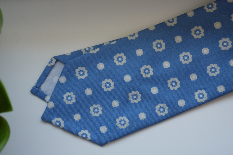 Floral Printed Cotton Silk Tie - Light Blue/White